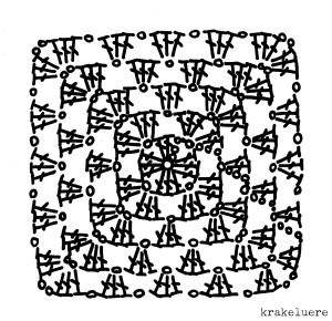 Häkelschrift klassisches Granny Square - krakeluere.de