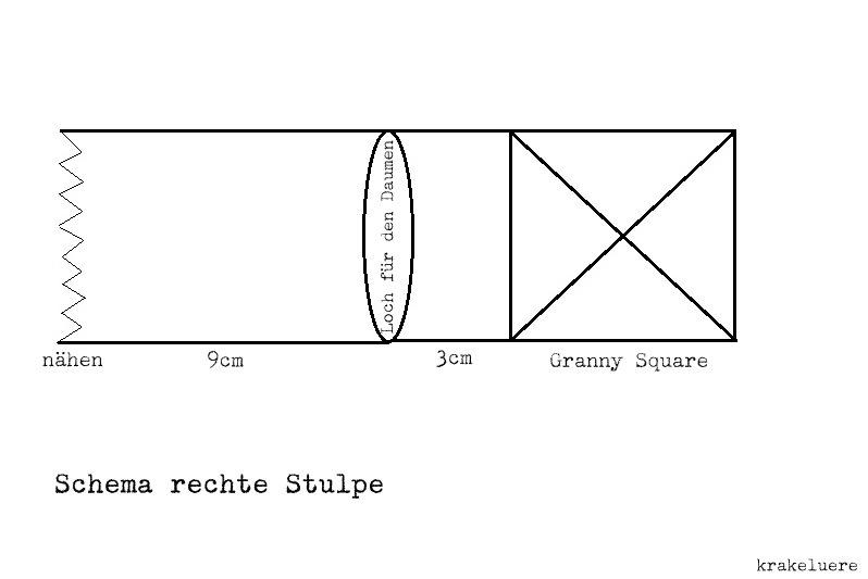 Schema rechte Stulpe Granny Squares
